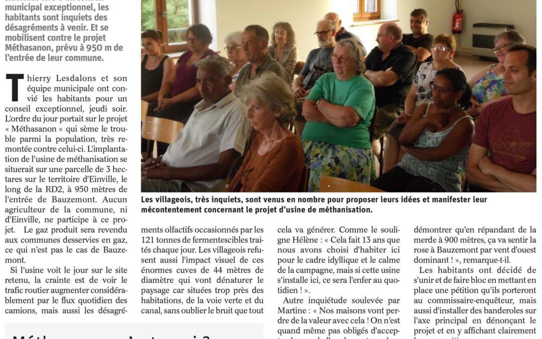 Est Républicain du 26 juin 2017 «Bauzemont, non à l'usine de méthanisation»