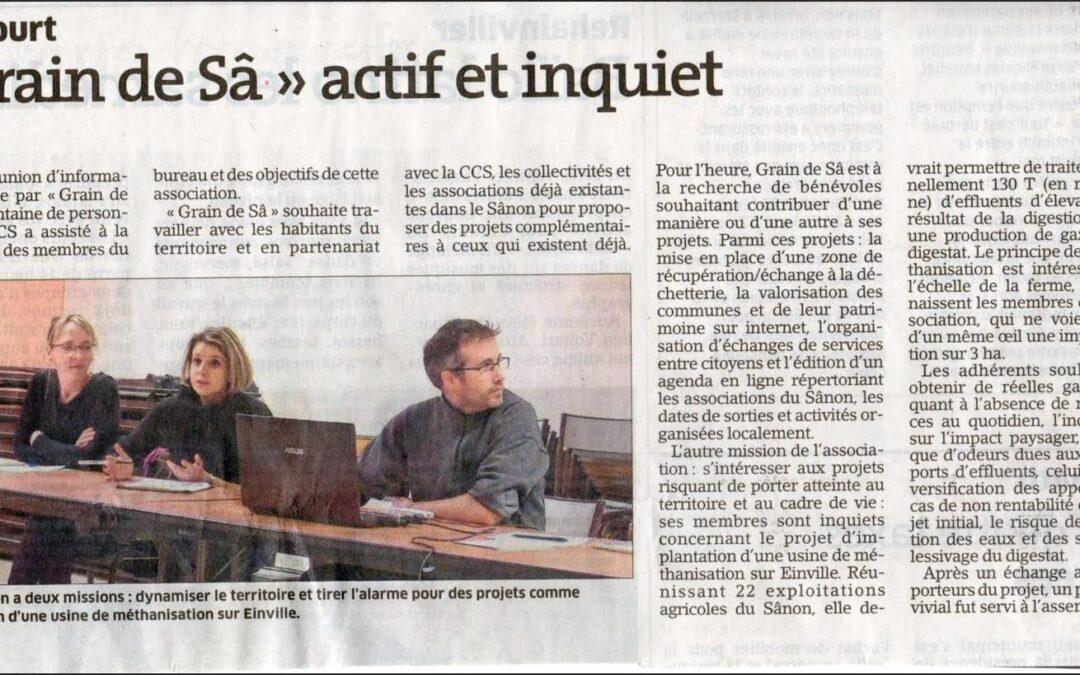 Est Républicain du 10 mars 2016 – réunion présentation Arracourt